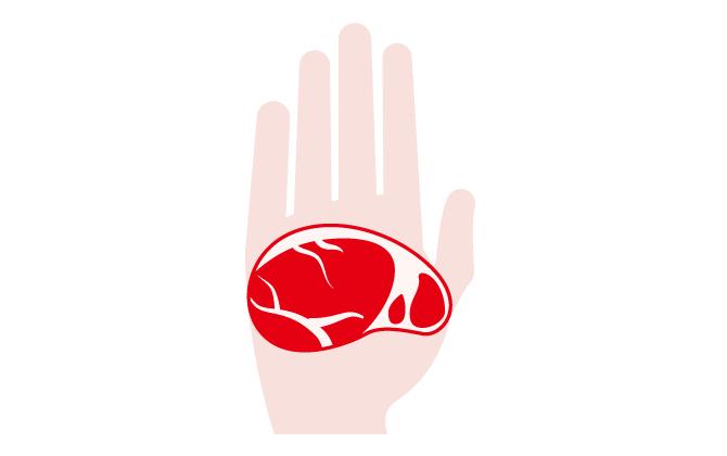 女性の手の平に乗る肉