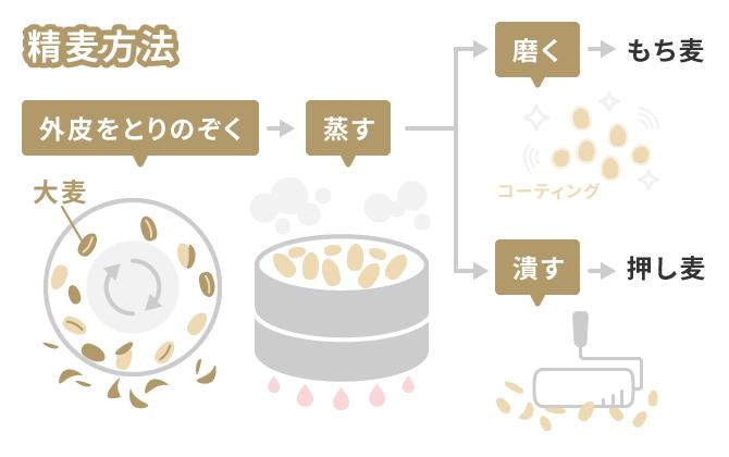 もち麦と押し麦の加工方法