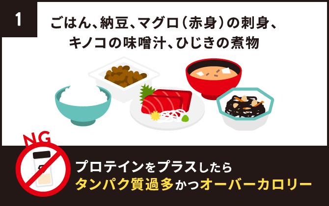 ごはん、納豆、マグロ(赤身)の刺身、キノコの味噌汁、ひじきの煮物にプロテインをプラス